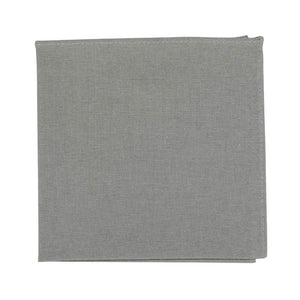 Stone Pocket Square. Solid light gray textured fabric.