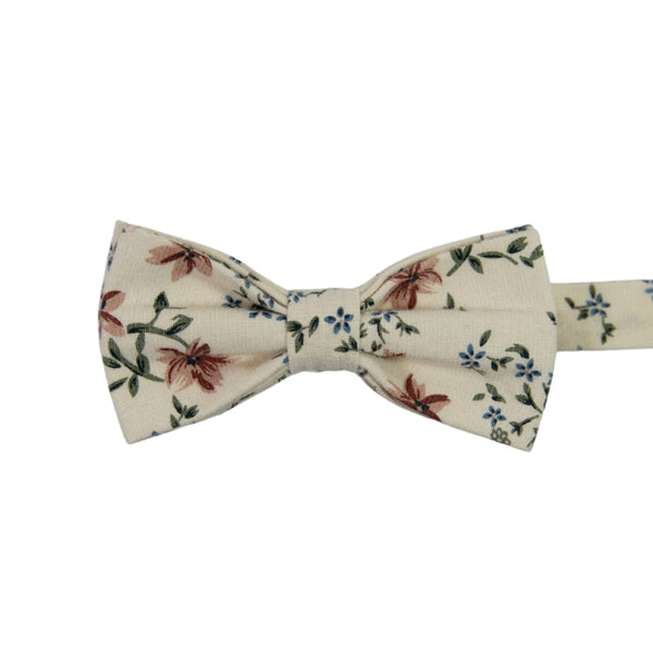 Sugar Blossom Pre-Tied Bow Tie. Cream background with medium size mauve flowers, small dusty blue flowers, and sage green leaves.