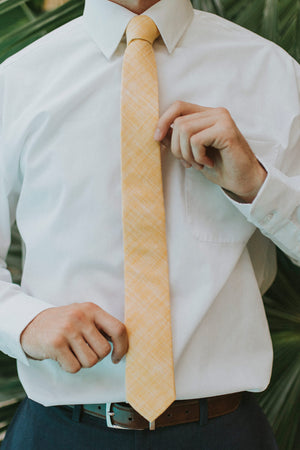 Sunset tie worn with a white shirt, brown belt and navy pants.