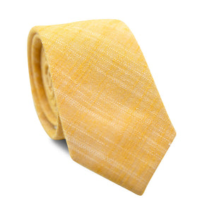 Sunset Skinny Tie. Solid yellow textured fabric with hints of white thread showing through.