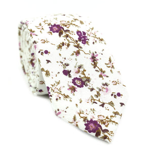 Sweetly Picked Skinny Tie. White background with light and dark purple small flowers, brown vines.