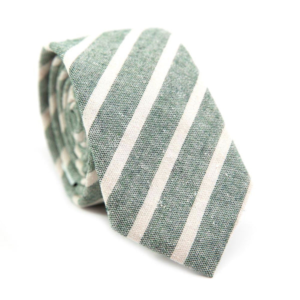 Ranger Skinny Tie. Sage green textured fabric with thin white diagonal stripes.