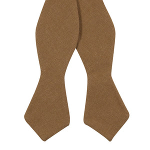 Timber Self Tie Bow Tie. Solid brown/orange textured fabric.