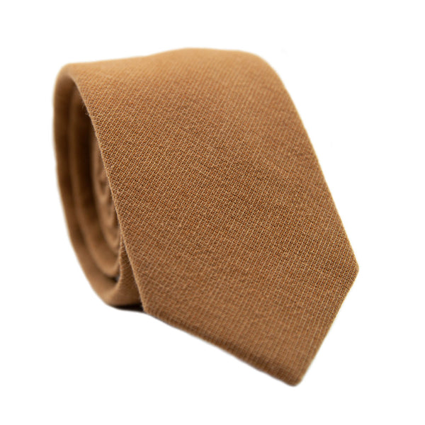 Timber Skinny Tie. Solid brown/orange textured fabric.