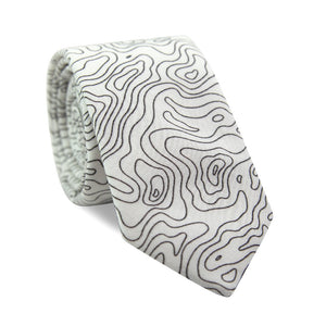 Topographic Skinny Tie. White background with black lines making a topographic map pattern.
