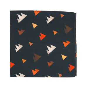 Utah Pocket Square. Navy background with small triangle mountain shapes in gray, orange and brown.