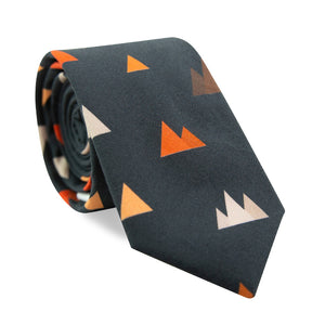 Utah Skinny Tie. Navy background with small triangle mountain shapes in gray, orange and brown.