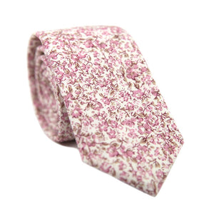 Ventura Skinny Tie. Off-white background with small blush pink and light brown flowers and leaves.