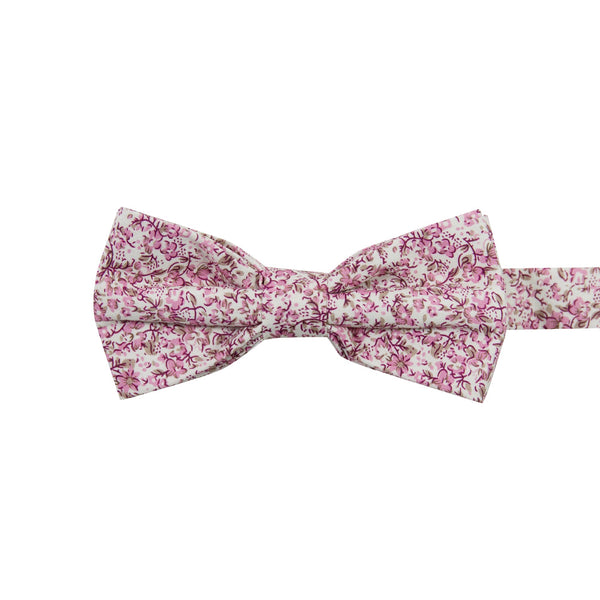 Ventura Pre-Tied Bow Tie. Off-white background with small blush pink and light brown flowers and leaves.
