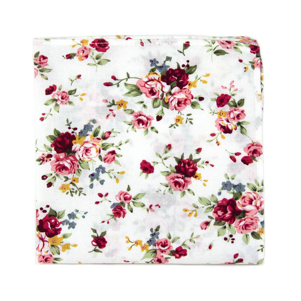 White Floral Pocket Square