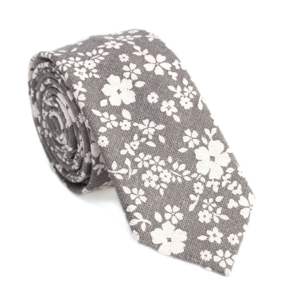 Dusty Orchid Skinny Tie. Textured gray with white flowers