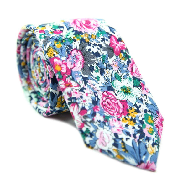 DAZI Pastel Floral Skinny Tie Hot Mess