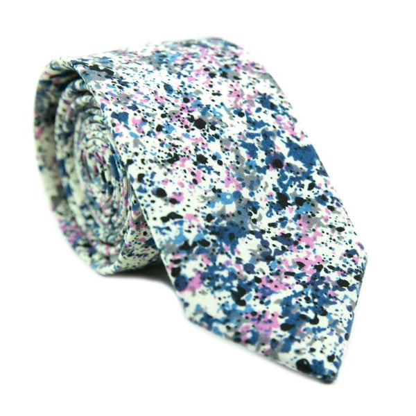 DAZI Mr Pollock Colorful Paint Splatter Skinny Tie