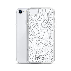 DAZI Topographic Phone Case Clear Edges With Black White Design