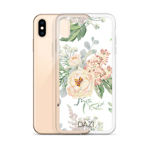 DAZI Desert Sun Phone Case Clear Edges With White Green Pink Floral Design