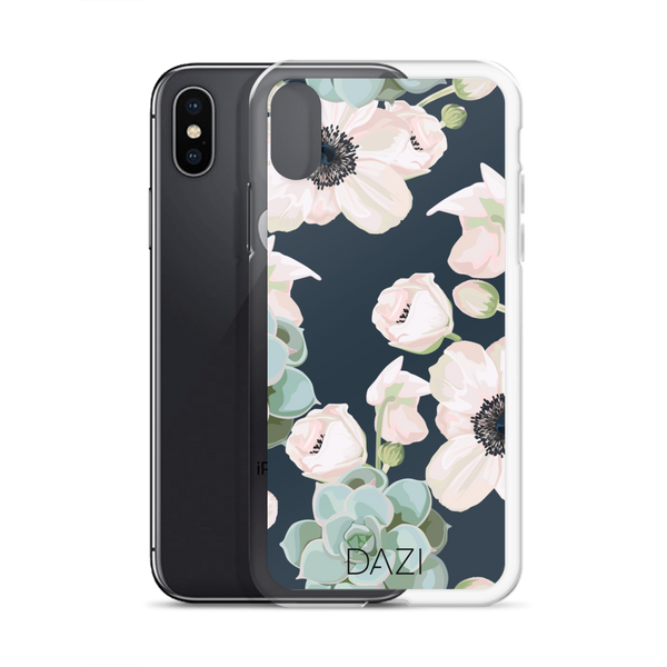 DAZI Mesa Phone Case Clear Edges With Navy Green Succulent Floral Design