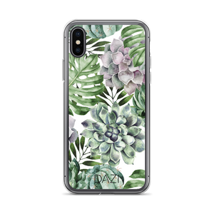 DAZI Aloe Phone Case Clear Edges With Green White Succulent Floral Design