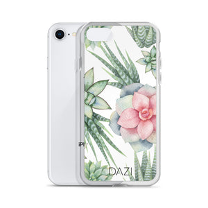 DAZI Agave Phone Case Clear Edges With Green Pink Succulent Design