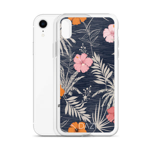 DAZI Islander Phone Case Clear Edges With Blue Pink Orange Floral Design