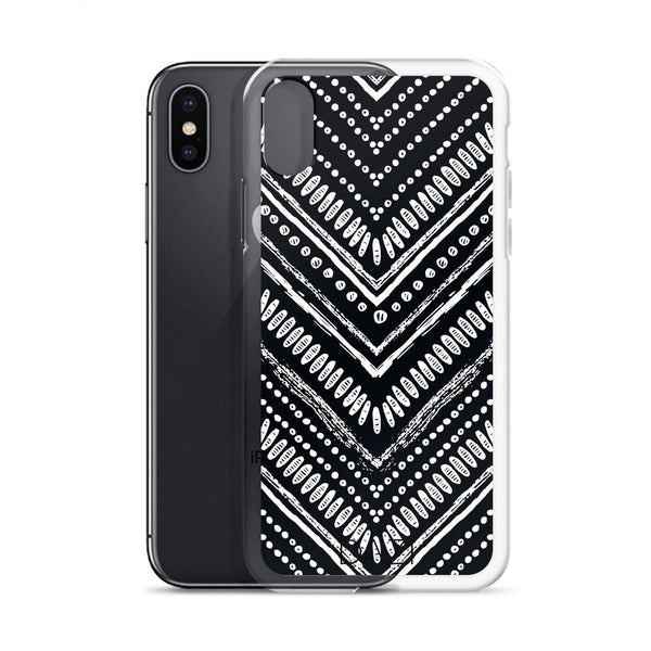 DAZI Tribal Phone Case Clear Edges With Black White Design
