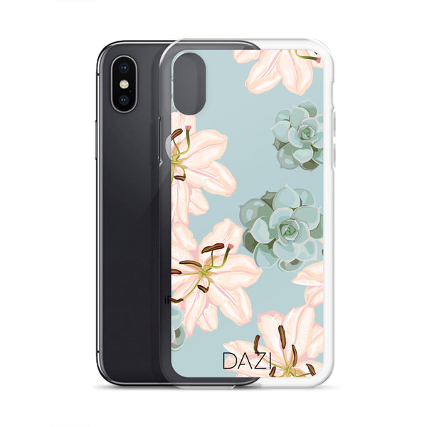 DAZI Roseum Phone Case Clear Edges With Blue Pink Succulent Design