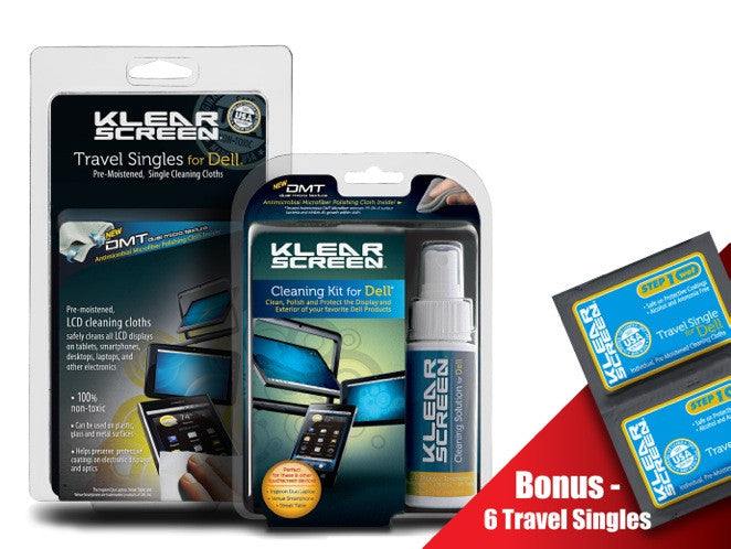 Klear Screen Dell Kit and Dell Travel Singles Combo Pack