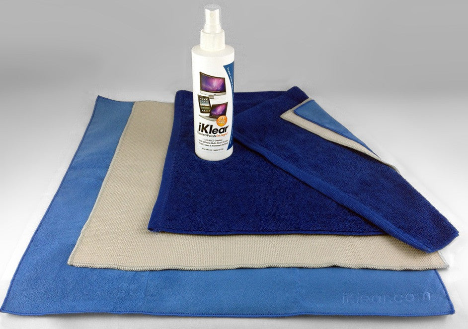 Picture of 8 oz. spray bottle of iKlear cleaning fluid and three microfiber polishing cloths.
