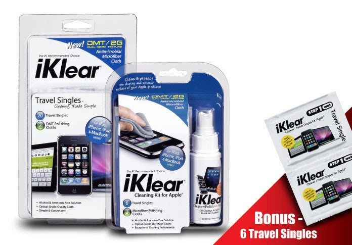 iKlear 2 oz. Cleaning Kit and iKlear Travel Singles Combo Pack