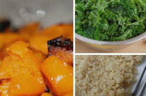 Roasted Butternut Squash With Kale and Quinoa Salad