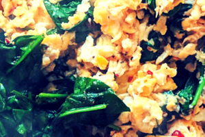 Scrambled Eggs With Fried Baby Spinach