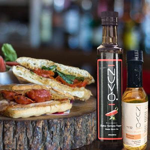 Sweet Salma - Fused Spicy Serrano Pepper Olive Oil paired with White Peach Balsamic Vinegar - Nuvo Olive Oil