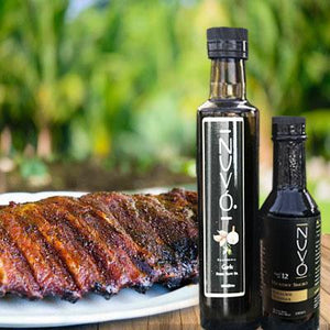 Fused Garlic Olive Oil paired with Hickory Balsamic Vinegar-Nuvo Olive OIl