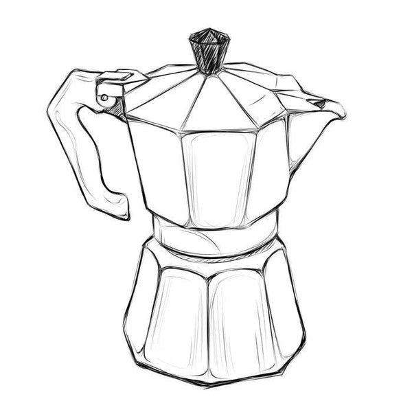 Line Drawing Maker : Moka pot brew guide devoción