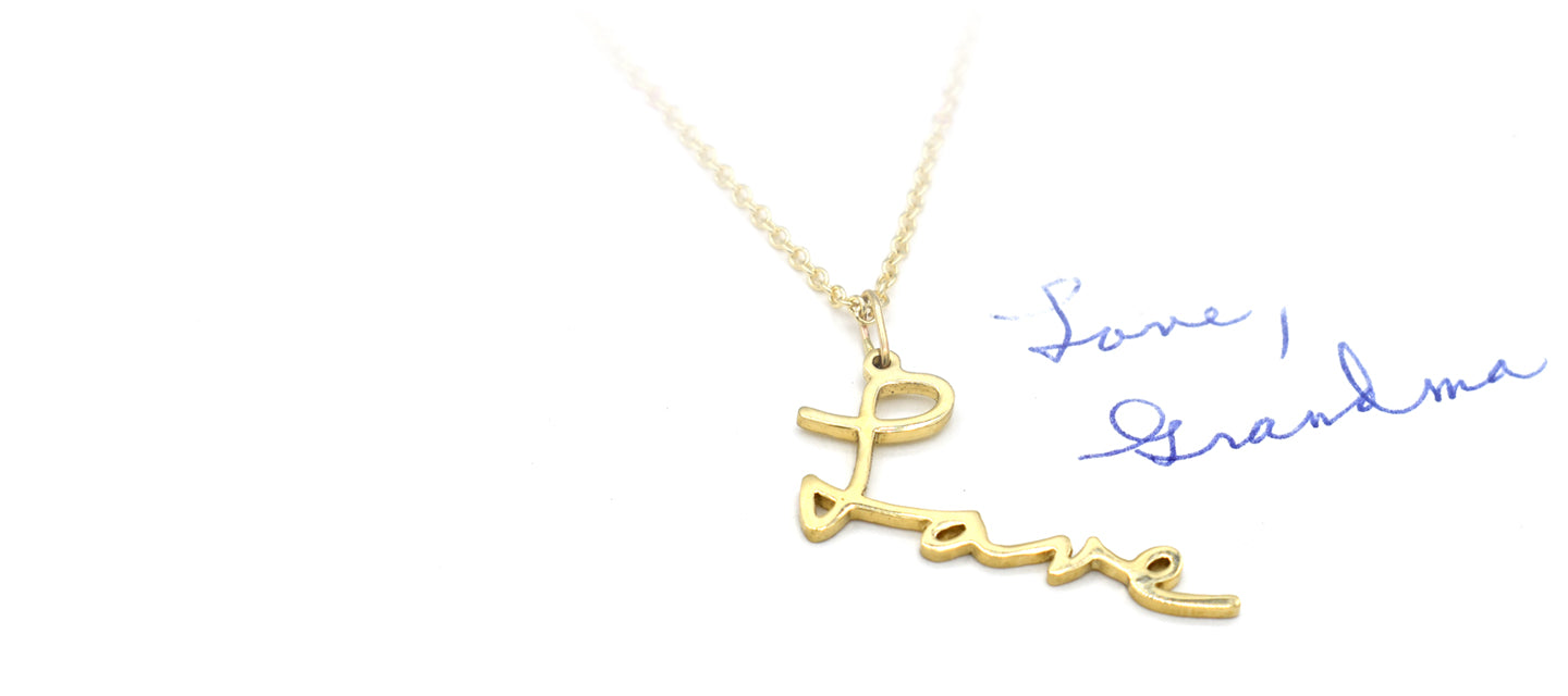 memorial handwriting necklace in 14k gold love grandma handwriting