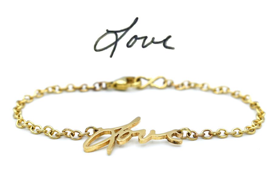 memorial handwriting bracelet in 14k gold