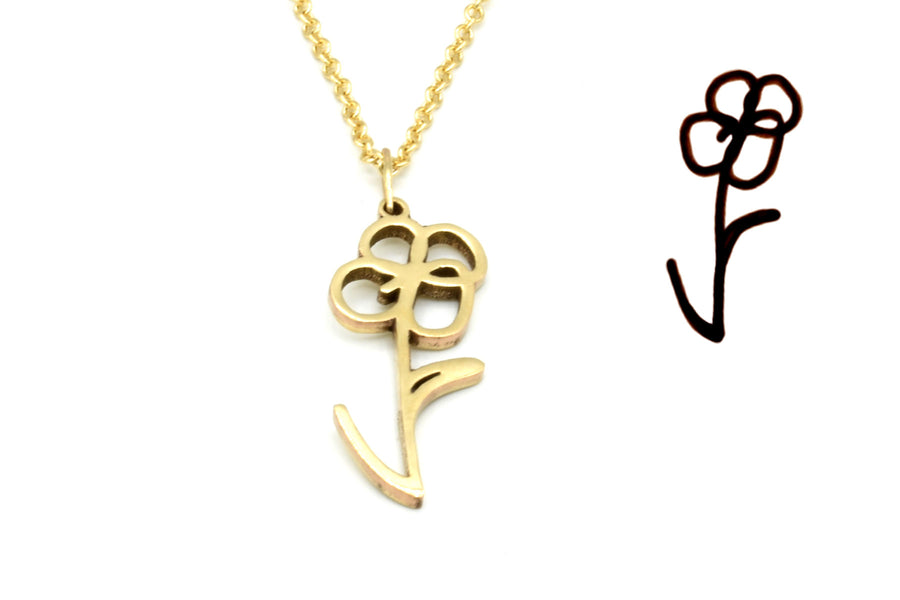 memorial drawing necklace in 14k gold
