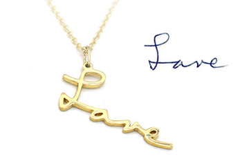 memorial handwriting necklace in 14k gold