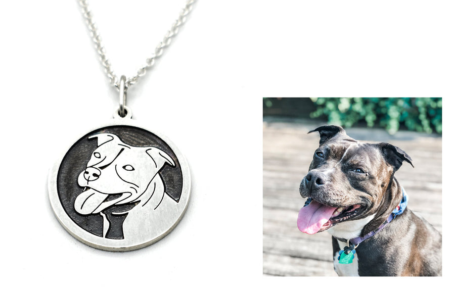 Pet Portrait Necklace in Sterling Silver