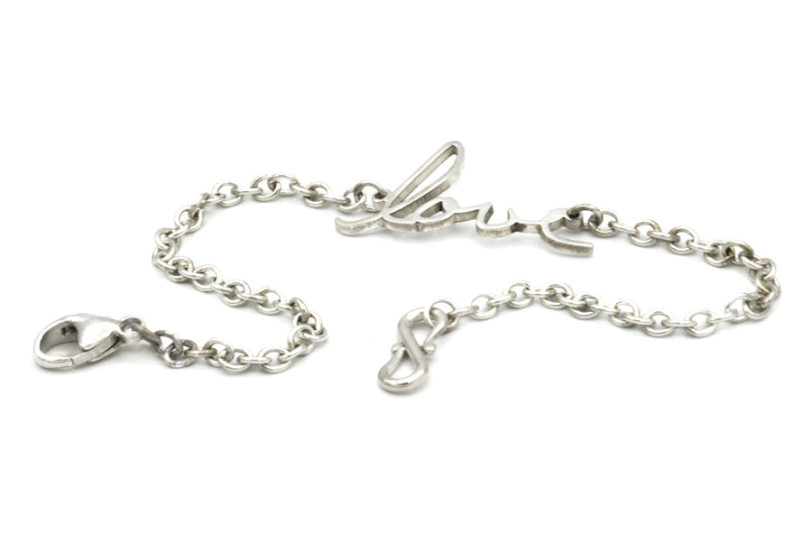 memorial handwriting bracelet in sterling silver closeup