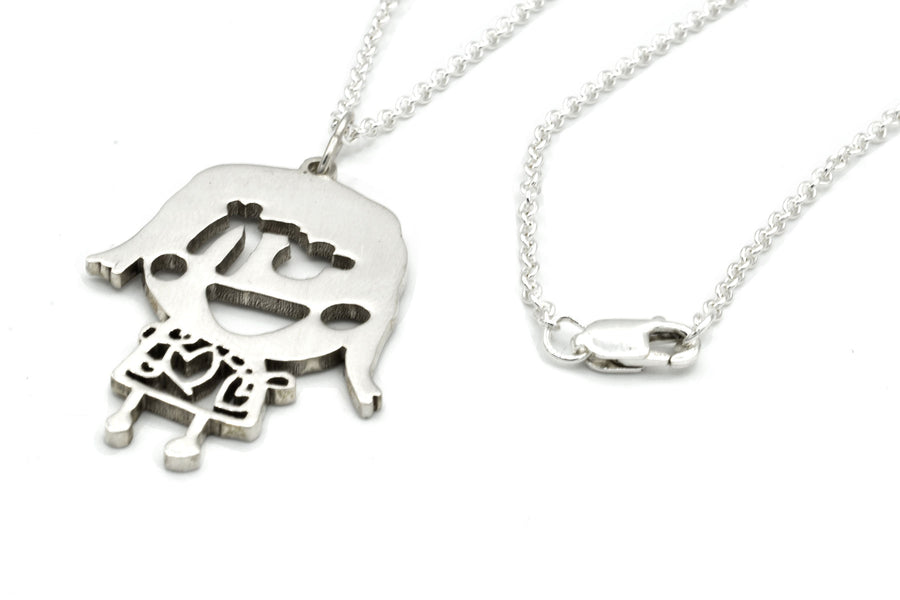 custom drawing necklace in sterling silver closeup