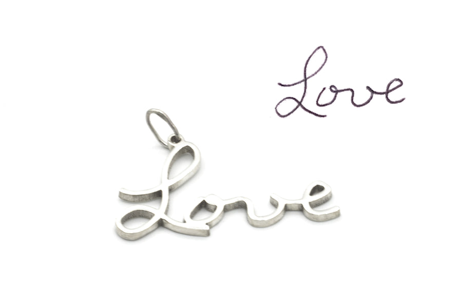 Handwriting Pendant in Sterling Silver