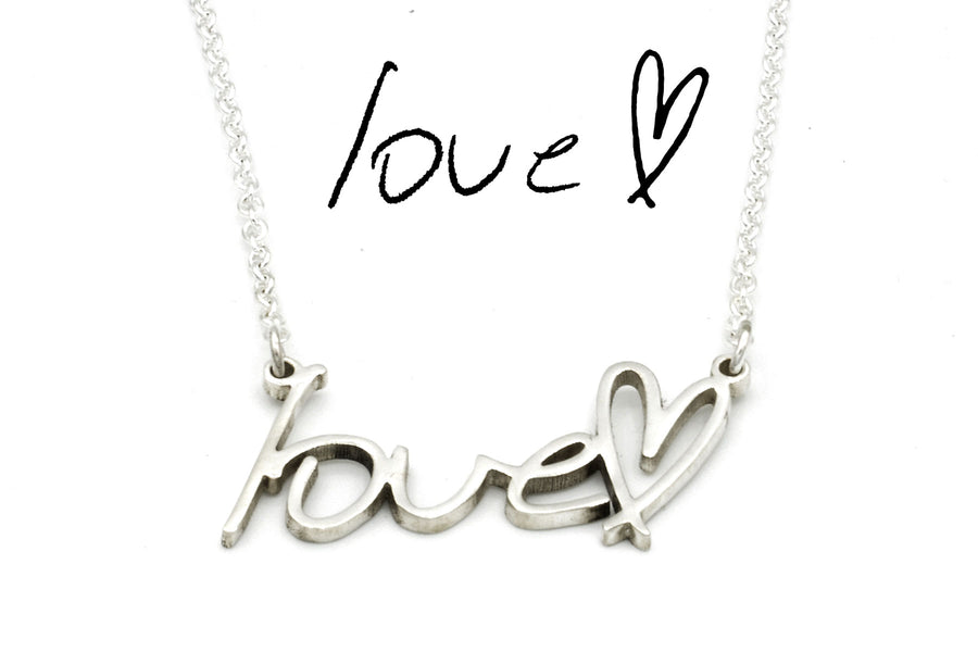 memorial handwriting necklace in sterling silver
