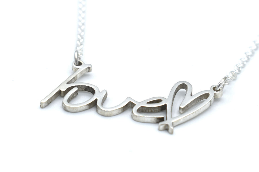 memorial handwriting necklace in sterling silver closeup