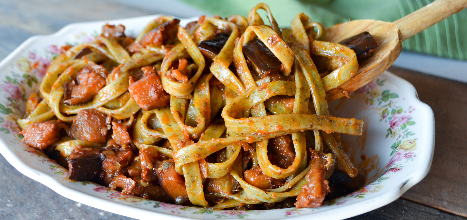 Basil Garlic Fettuccine with Caponata