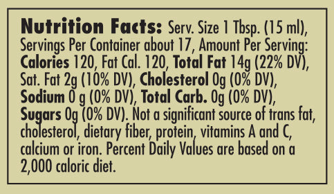 Pappardelle's Basil Olive Oil Nutritional Statement