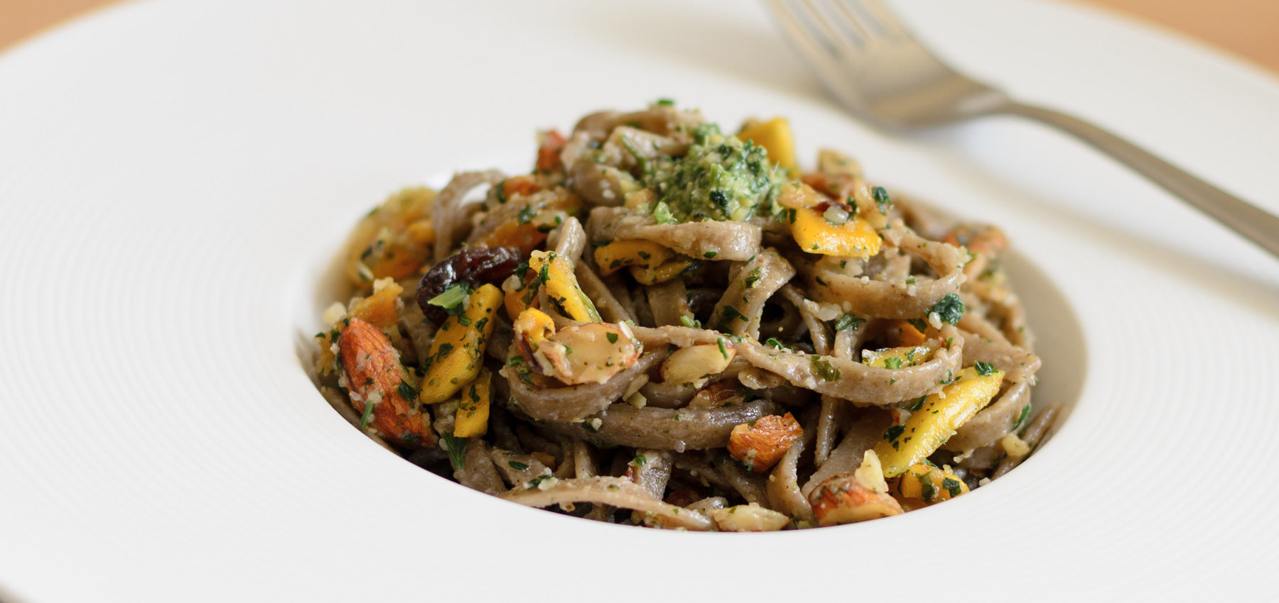 Pappardelle's Bhakti Chai Tea Linguine Tossed In Homemade Lemongrass Pesto with Dried Fruits Nuts
