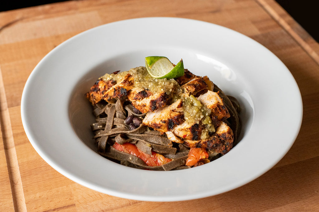 Chipotle Black Bean Tagliatelle with Grilled Chicken