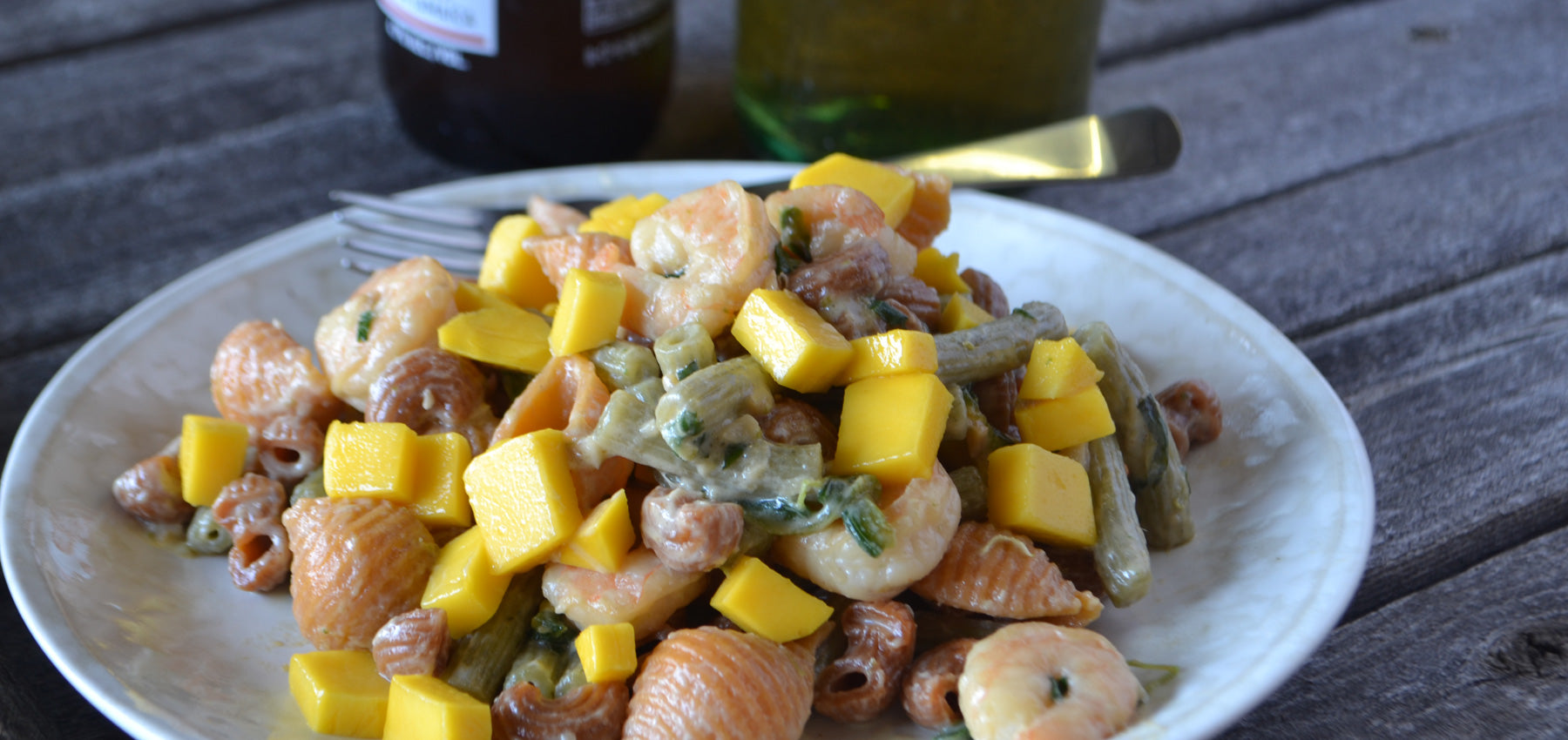 Calypso Blend Topped with Jammin' Shrimp and Mangoes