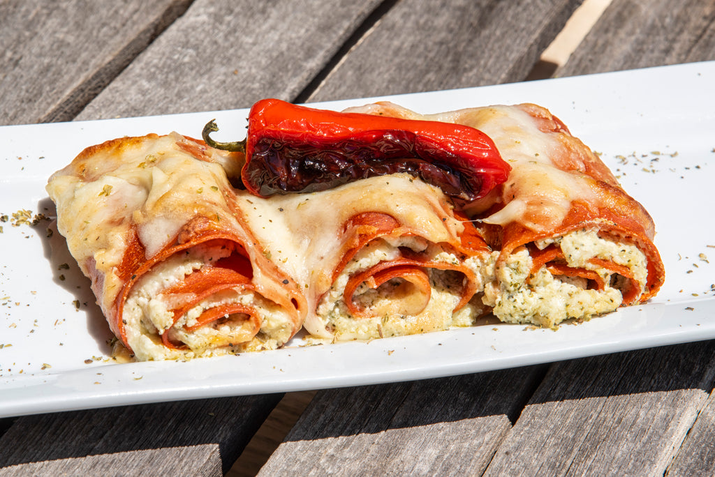 Cheesy Roasted Red Pepper Lasagna Roll Ups