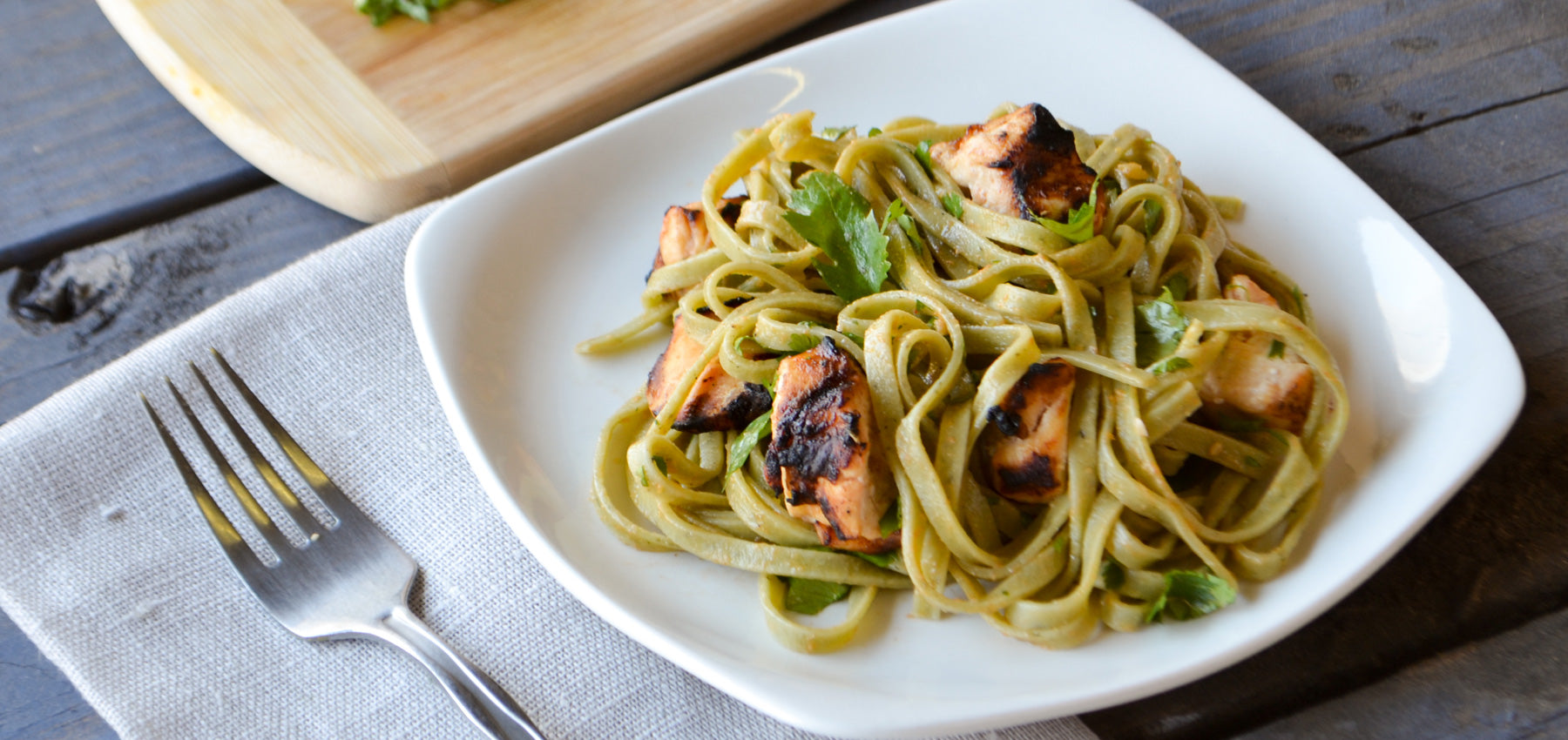Lime Cilantro Linguine with Chicken in Citrus-Cilantro Sauce